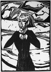 Erich Heckel (German, 1883-1970). <em>Girl at the Sea (Mädchen am Meer)</em>, 1918. Woodcut on heavy wove paper, Image: 17 15/16 x 12 3/4 in. (45.6 x 32.4 cm). Brooklyn Museum, By exchange, 38.212. © artist or artist's estate (Photo: Brooklyn Museum, 38.212_bw_IMLS.jpg)