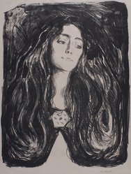 Edvard Munch (Norwegian, 1863-1944). <em>Eva Mudocci</em>, 1903. Lithograph on wove paper, image: 23 5/16 × 18 3/8 in. (59.3 × 46.7 cm). Brooklyn Museum, Charles Stewart Smith Memorial Fund, 38.253. © artist or artist's estate (Photo: Brooklyn Museum, 38.253.jpg)