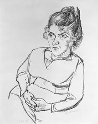 Max Beckmann (German, 1884-1950). <em>Portrait of Woman with Hands Folded in Lap</em>, 1920 (possibly). Lithograph on laid paper, Sheet: 16 9/16 x 12 5/16 in. (42.1 x 31.3 cm). Brooklyn Museum, By exchange, 38.254. © artist or artist's estate (Photo: Brooklyn Museum, 38.254_bw_IMLS.jpg)
