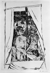 Max Beckmann (German, 1884-1950). <em>Boys at a Window (Knaben am Fenster)</em>, 1922. Etching and drypoint on wove paper, Image (Plate): 12 5/8 x 8 7/8 in. (32.1 x 22.5 cm). Brooklyn Museum, By exchange, 38.255. © artist or artist's estate (Photo: Brooklyn Museum, 38.255_bw_IMLS.jpg)