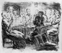 Max Beckmann (German, 1884-1950). <em>The Last Supper (Das Abendmahl)</em>, 1911. Lithograph on Japan paper, Image: 9 3/4 x 11 7/16 in. (24.8 x 29.1 cm). Brooklyn Museum, By exchange, 38.256. © artist or artist's estate (Photo: Brooklyn Museum, 38.256_bw_IMLS.jpg)