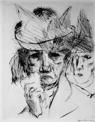 Max Beckmann (German, 1884-1950). <em>Weeping Woman (Weinende Frau)</em>, 1914. Drypoint on heavy wove paper, Image: 9 1/4 x 7 5/16 in. (23.5 x 18.6 cm). Brooklyn Museum, By exchange, 38.257. © artist or artist's estate (Photo: Brooklyn Museum, 38.257_bw_IMLS.jpg)