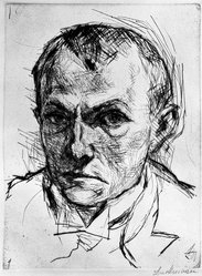 Max Beckmann (German, 1884-1950). <em>Self-Portrait (Selbstbildnis)</em>, 1914. Drypoint on heavy wove paper, Image: 9 x 6 7/8 in. (22.9 x 17.5 cm). Brooklyn Museum, By exchange, 38.258. © artist or artist's estate (Photo: Brooklyn Museum, 38.258_bw_IMLS.jpg)