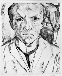 Max Beckmann (German, 1884-1950). <em>Self-Portrait in Front of House with Gables (Selbstbildnis von vorn, im Hintergrund Hausgiebel)</em>, 1918. Drypoint on heavy wove paper, Image (Plate): 12 1/8 x 10 1/8 in. (30.8 x 25.7 cm). Brooklyn Museum, By exchange, 38.259. © artist or artist's estate (Photo: Brooklyn Museum, 38.259_bw_IMLS.jpg)