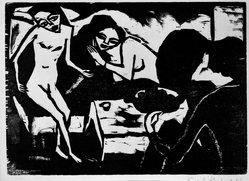Erich Heckel (German, 1883-1970). <em>In the Studio (Im Atelier)</em>, 1911. Woodcut on wove paper, Sheet (uneven): 17 3/4 x 12 13/16 in. (45.1 x 32.5 cm). Brooklyn Museum, By exchange, 38.265. © artist or artist's estate (Photo: Brooklyn Museum, 38.265_bw_IMLS.jpg)