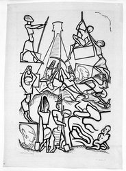 Jean Charlot (French, active United States and Mexico, 1898-1979). <em>Builders II</em>, 1927. Woodcut, 18 1/4 x 11 7/8 in. (46.4 x 30.1 cm). Brooklyn Museum, By exchange, 38.331. © artist or artist's estate (Photo: Brooklyn Museum, 38.331_bw.jpg)