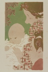 Pierre Bonnard (French, 1867-1947). <em>Family Scene (Scène de famille)</em>, 1892. Lithograph in three colors on wove paper, 12 1/4 x 7 in. (31.1 x 17.8 cm). Brooklyn Museum, Charles Stewart Smith Memorial Fund, 38.335. © artist or artist's estate (Photo: , 38.335_PS9.jpg)