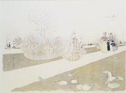 Édouard Vuillard (French, 1868-1940). <em>The Garden of the Tuileries (Le Jardin des Tuileries)</em>, 1896. Color lithograph on China paper, Image: 12 1/8 x 17 1/8 in. (30.8 x 43.5 cm). Brooklyn Museum, By exchange, 38.431. © artist or artist's estate (Photo: Brooklyn Museum, 38.431_transp1374.jpg)