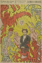 James Ensor (Belgian, 1860-1949). <em>Salon des Cent</em>, 1898. Color lithograph on wove paper, Image: 22 1/4 × 14 1/2 in. (56.5 × 36.8 cm). Brooklyn Museum, By exchange, 38.432. © artist or artist's estate (Photo: , 38.432_PS9.jpg)
