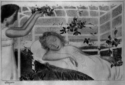 Maurice Denis (French, 1870-1943). <em>Allegory (Allégorie)</em>, 1892-1899. Color lithograph on wove paper, Sheet: 16 1/16 x 20 7/8 in. (40.8 x 53 cm). Brooklyn Museum, By exchange, 38.433. © artist or artist's estate (Photo: Brooklyn Museum, 38.433_bw_IMLS.jpg)