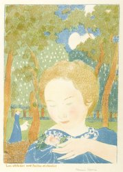 Maurice Denis (French, 1870-1943). <em>Attitudes Are Easy and Chaste (Les Attitudes sont faciles et chastes)</em>, 1892-1899. Color lithograph on wove paper, Image: 15 1/2 x 11 in. (39.4 x 27.9 cm). Brooklyn Museum, By exchange, 38.442. © artist or artist's estate (Photo: Brooklyn Museum, 38.442_PS6.jpg)