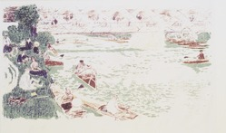 Pierre Bonnard (French, 1867-1947). <em>Boating (Le Canotage)</em>, 1896-1897. Color lithograph on China paper, Image: 10 3/8 x 18 5/8 in. (26.4 x 47.3 cm). Brooklyn Museum, By exchange, 38.443. © artist or artist's estate (Photo: Brooklyn Museum, 38.443_transp1375.jpg)