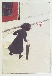 Pierre Bonnard (French, 1867-1947). <em>The Little Laundry Girl (La Petite Blanchisseuse)</em>, 1895-1896. Color lithograph on wove paper, Image: 11 7/16 x 7 7/8 in. (29.1 x 20 cm). Brooklyn Museum, By exchange, 38.444. © artist or artist's estate (Photo: Brooklyn Museum, 38.444_transp1376.jpg)