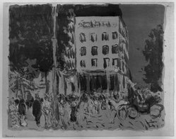Pierre Bonnard (French, 1867-1947). <em>Les Boulevards</em>, 1900. Color lithograph on China paper, Image: 10 1/4 x 13 in. (26 x 33 cm). Brooklyn Museum, By exchange, 38.445. © artist or artist's estate (Photo: Brooklyn Museum, 38.445_acetate_bw.jpg)