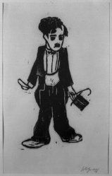 Friedrich Karl Gotsch (German, 1900-1984). <em>Charlie Chaplin</em>. Woodcut on laid Japan paper, 15 5/16 x 8 9/16 in. (38.9 x 21.7 cm). Brooklyn Museum, By exchange, 38.641. © artist or artist's estate (Photo: Brooklyn Museum, 38.641_acetate_bw.jpg)
