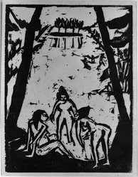 Erich Heckel (German, 1883-1970). <em>Bathers at the Pond (Badende am Teich)</em>, 1910. Woodcut on heavy wove paper, Image: 7 13/16 x 6 in. (19.8 x 15.2 cm). Brooklyn Museum, By exchange, 38.784. © artist or artist's estate (Photo: Brooklyn Museum, 38.785_acetate_bw.jpg)