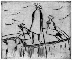 Erich Heckel (German, 1883-1970). <em>Three Girls near the Water (Drei Mädchen am Wasser)</em>, 1912. Drypoint on heavy wove paper, Image (Plate): 5 7/8 x 7 in. (14.9 x 17.8 cm). Brooklyn Museum, By exchange, 38.785. © artist or artist's estate (Photo: Brooklyn Museum, 38.785_bw_IMLS.jpg)