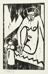 Karl Schmidt-Rottluff (German, 1884-1976). <em>Girl with Vase of Flowers (Mädchen mit Blumenvase)</em>, 1911. Woodcut on wove paper, Image: 12 3/4 x 8 in. (32.4 x 20.3 cm). Brooklyn Museum, By exchange, 38.789. © artist or artist's estate (Photo: Brooklyn Museum, 38.789_PS2.jpg)