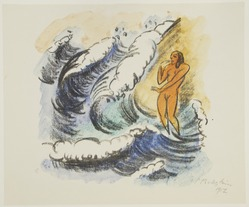 Max Pechstein (German, 1881-1955). <em>Woman in the Waves (Frau in Wellen)</em>, 1917. Hand-colored lithograph in orange, blue, green, black on white wove paper, Image: 10 13/16 x 10 1/4 in. (27.5 x 26 cm). Brooklyn Museum, By exchange, 38.790. © artist or artist's estate (Photo: Brooklyn Museum, 38.790_view1_PS12.jpg)