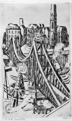 Max Beckmann (German, 1884-1950). <em>Large Bridge (The Iron Footbridge in Frankfurt/Main) (Grosse Brücke [Der eiserne Steg in Frankfurt/Main])</em>, 1922. Drypoint and etching on laid paper, Image (Plate): 16 3/8 x 10 in. (41.6 x 25.4 cm). Brooklyn Museum, By exchange, 38.792. © artist or artist's estate (Photo: Brooklyn Museum, 38.792_bw_IMLS.jpg)