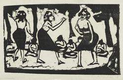 Erich Heckel (German, 1883-1970). <em>Samoans (Samoanerinnen)</em>, 1911. Woodcut on laid paper, Image: 8 1/16 x 13 1/4 in. (20.5 x 33.7 cm). Brooklyn Museum, By exchange, 38.796. © artist or artist's estate (Photo: Brooklyn Museum, 38.796_PS2.jpg)