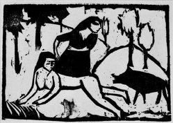 Erich Heckel (German, 1883-1970). <em>The Boar (Das Eber)</em>, 1911. Woodcut on heavy wove paper, Image: 7 1/2 x 10 3/4 in. (19.1 x 27.3 cm). Brooklyn Museum, By exchange, 38.797. © artist or artist's estate (Photo: Brooklyn Museum, 38.797_bw_IMLS.jpg)