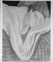 Henri Matisse (French, 1869-1954). <em>Le Reve</em>, 1935. Lithograph in colors on wove paper, 17 11/16 x 22 3/8 in. (45 x 56.9 cm). Brooklyn Museum, Gift of Henri Petiet, 38.83. © artist or artist's estate (Photo: Brooklyn Museum, 38.83_acetate_bw.jpg)