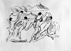 Max Pechstein (German, 1881-1955). <em>Figures Dancing in a Circle</em>. Drawing in pen and India ink on wove paper, 10 5/8 x 14 1/2 in. (27 x 36.8 cm). Brooklyn Museum, By exchange, 38.855. © artist or artist's estate (Photo: Brooklyn Museum, 38.855_bw_IMLS.jpg)