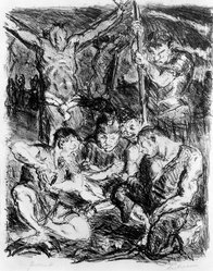 Max Beckmann (German, 1884-1950). <em>The Dice Throwers Under the Cross (Die Würfler unter dem Kreuz)</em>, 1911. Lithograph on Japan paper, Image: 11 5/8 x 9 3/8 in. (29.5 x 23.8 cm). Brooklyn Museum, By exchange, 38.879. © artist or artist's estate (Photo: Brooklyn Museum, 38.879_bw_IMLS.jpg)