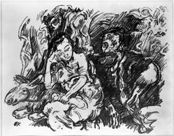Oskar Kokoschka (Austrian, 1886-1980). <em>Rest on the Flight into Egypt (Rast auf der Flucht nach Ägypten)</em>, 1916. Lithograph on cream wove paper, Sheet: 13 3/16 x 16 1/16 in. (33.5 x 40.8 cm). Brooklyn Museum, By exchange, 38.882. © artist or artist's estate (Photo: Brooklyn Museum, 38.882_bw_IMLS.jpg)
