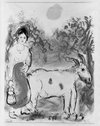 Marc Chagall (French, born Russia, 1887-1985). <em>The Dairymaid</em>, ca. 1925. Watercolor on paper, 22 1/2 x 16 15/16 in.  (57.2 x 43.0 cm). Brooklyn Museum, Purchased with funds given by anonymous donor and Designated Purchase Fund, 39.118. © artist or artist's estate (Photo: Brooklyn Museum, 39.118_bw.jpg)