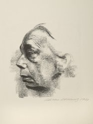 Käthe Kollwitz (German, 1867-1945). <em>Self Portrait (Selbstbildnis)</em>, 1927. Lithograph on laid paper, Image: 12 9/16 x 11 3/4 in. (31.9 x 29.8 cm). Brooklyn Museum, Museum Collection Fund, 39.15. © artist or artist's estate (Photo: Brooklyn Museum, 39.15_PS6.jpg)