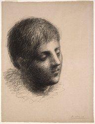 Pablo Picasso (Spanish, 1881-1973). <em>Tete de Jeune Homme</em>, 1923. Grease crayon on pink Michallet laid paper, 24 1/2 x 18 5/8 in. (62.1 x 47.4 cm). Brooklyn Museum, Carll H. de Silver Fund, 39.18. © artist or artist's estate (Photo: Brooklyn Museum, 39.18_SL1.jpg)