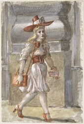 Reginald Marsh (American, 1898-1954). <em>Girl on Fourteenth Street</em>, 1939. Transparent and opaque watercolor over graphite (recto and verso) on cream, thick, rough-textured wove paper, 22 3/8 x 15 3/8 in. (56.8 x 39.1 cm). Brooklyn Museum, Gift of Friends of Southern Vermont Artists, Inc., 39.414. © artist or artist's estate (Photo: Brooklyn Museum, 39.414_SL1.jpg)