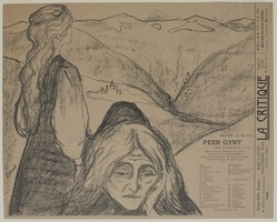 "Edvard Munch (Norwegian, 1863-1944). <em>Drawing for ""Peer Gynt"" (Zeichnung zu ""Peer Gynt"")</em>, 1896. Lithograph on wove paper, Image: 9 15/16 x 11 11/16 in. (25.2 x 29.7 cm). Brooklyn Museum, Gift of Jean Goriany, 39.55. © artist or artist's estate (Photo: , 39.55_PS9.jpg)"