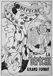 Maurice Denis (French, 1870-1943). <em>The Dispatch (La Dépêche)</em>, 1892. Color lithograph on wove paper, Image: 18 5/8 x 12 1/2 in. (47.3 x 31.8 cm). Brooklyn Museum, Gift of Jean Goriany, 39.592. © artist or artist's estate (Photo: Brooklyn Museum, 39.592_acetate_bw.jpg)