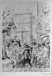 Cuno Amiet (Swiss, 1868-1961). <em>Gleichmutig Folgt das Neve dem Alten Gleichmut</em>, 1930. Lithograph on paper, Image: 12 13/16 x 8 3/4 in. (32.5 x 22.2 cm). Brooklyn Museum, Anonymous gift, 39.63. © artist or artist's estate (Photo: Brooklyn Museum, 39.63_bw_IMLS.jpg)