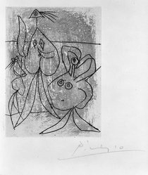 Pablo Picasso (Spanish, 1881-1973). <em>Composition No. 18</em>, 1935. Etching on wove paper, Sheet: 12 3/4 x 10 in. (32.4 x 25.4 cm). Brooklyn Museum, Brooklyn Museum Collection, 39.662.18. © artist or artist's estate (Photo: Brooklyn Museum, 39.662.18_bw.jpg)
