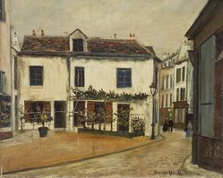 Maurice Utrillo (French, 1883-1955). <em>Rue Norvins, Paris</em>, 1918. Oil on cardboard mounted on cradled panel