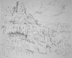 André Lhote (French, 1885-1962). <em>Chateaux dans le Lot</em>. Pen and ink drawing on wove paper, 17 5/8 x 22 in. (44.8 x 55.9 cm). Brooklyn Museum, Museum Collection Fund, 40.130. © artist or artist's estate (Photo: Brooklyn Museum, 40.130.jpg)