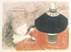 Pierre Bonnard (French, 1867-1947). <em>Child in Lamplight (L'Enfant à la lampe)</em>, ca. 1897. Color lithograph on China paper, Image: 12 5/8 x 17 11/16 in. (32.1 x 44.9 cm). Brooklyn Museum, Charles Stewart Smith Memorial Fund, 40.344. © artist or artist's estate (Photo: Brooklyn Museum, 40.344_transp1442.jpg)