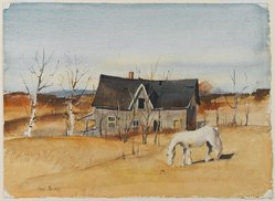 Paul Starrett Sample (American, 1896-1974). <em>Deserted House</em>, 1938. Watercolor with graphite underdrawing and opaque watercolor highlights on white, heavy weight, moderately textured handmade wove paper made from multiple laminated sheets, Sheet: 11 1/4 x 15 3/8 in. (28.6 x 39.1 cm). Brooklyn Museum, Gift of Friends of Southern Vermont Artists, Inc., 40.380. © artist or artist's estate (Photo: Brooklyn Museum, 40.380_PS2.jpg)