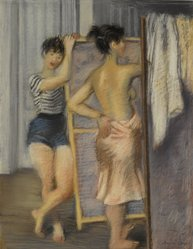 Raphael Soyer (American, born Russia, 1899-1987). <em>Two Dancers</em>, ca. 1935-1940. Pastel on grey wove paper, 24 1/4 x 18 1/8 in. (61.6 x 46 cm). Brooklyn Museum, Museum Collection Fund, 40.85. © artist or artist's estate (Photo: Brooklyn Museum, 40.85_PS2.jpg)