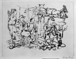 George Grosz (American, born Germany, 1893-1959). <em>The End of a Perfect Day</em>, 1939. Drypoint on BFK Rives paper, Image: 10 x 13 in. (25.4 x 33 cm). Brooklyn Museum, Dick S. Ramsay Fund, 40.897. © artist or artist's estate (Photo: Brooklyn Museum, 40.897_bw_IMLS.jpg)