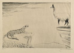 Joseph Hecht (Polish, 1891-1951). <em>Jaguar and Llama</em>, 1929. Engraving on wove paper, 9 1/16 x 13 9/16 in. (23 x 34.5 cm). Brooklyn Museum, Gift of William M. Lybrand, 40.940. © artist or artist's estate (Photo: Brooklyn Museum, 40.940_PS6.jpg)