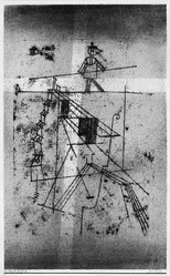 Paul Klee (Swiss, 1879-1940). <em>Tightrope Walker (Seiltänzer)</em>, 1921. Color transfer lithograph in pink and black on laid paper, Image: 17 5/16 x 10 5/8 in. (44 x 27 cm). Brooklyn Museum, Brooklyn Museum Collection, 41.1005. © artist or artist's estate (Photo: Brooklyn Museum, 41.1005_bw_IMLS.jpg)