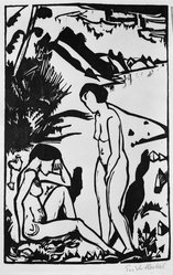 Erich Heckel (German, 1883-1970). <em>At the Beach (Am Strand)</em>, 1923. Woodcut on wove paper, Image: 15 3/4 x 10 3/8 in. (40 x 26.4 cm). Brooklyn Museum, Brooklyn Museum Collection, 41.1007. © artist or artist's estate (Photo: Brooklyn Museum, 41.1007_bw_IMLS.jpg)