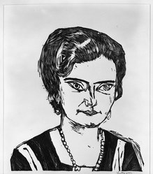 Max Beckmann (German, 1884-1950). <em>Portrait of Frau H.M. (Naila) (Bildnis Frau H.M [Naila])</em>, 1923. Woodcut on wove paper, Image: 13 5/8 x 12 15/16 in. (34.6 x 32.9 cm). Brooklyn Museum, Brooklyn Museum Collection, 41.1008. © artist or artist's estate (Photo: Brooklyn Museum, 41.1008_bw_IMLS.jpg)