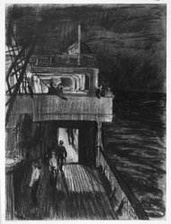 Sir Muirhead Bone (Scottish, 1876-1953). <em>On the S.S. Aquitania in the Atlantic</em>, 1923. Drawing in charcoal on heavy wove paper, 14 13/16 x 19 13/16 in. (37.7 x 50.3 cm). Brooklyn Museum, Gift of Harold K. Hochschild, 41.1112. © artist or artist's estate (Photo: Brooklyn Museum, 41.1112_bw.jpg)