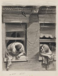 Lawrence Beall Smith (American, 1909-1995). <em>The Gossips</em>, 1938. Graphite and crayon on paper, Sheet: 14 7/16 x 11 7/8 in. (36.7 x 30.2 cm). Brooklyn Museum, Dick S. Ramsay Fund, 41.1166. © artist or artist's estate (Photo: Brooklyn Museum, 41.1166_IMLS_PS3.jpg)